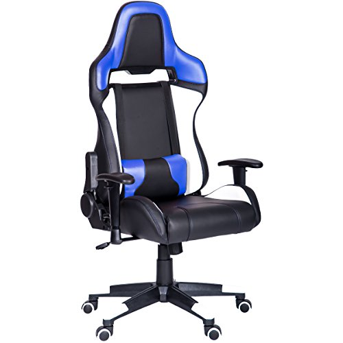 HM HOME Atlas Series Gaming Chair Ergonomic High Back Racing Style Office Chair PU Leather with Adjustable Lumbar Support (Blue)