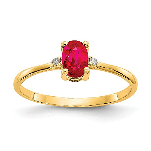 14k Yellow Gold Diamond Red Ruby Birthstone Band Ring Size 6.00 Stone July Oval Fine Jewelry Gifts For Women For Her