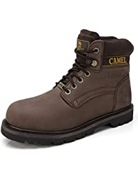 Men's Leather Insulated Work Boots Water Resistant Non-Slip Industrial Construction Boots Round Toe Safety Shoes