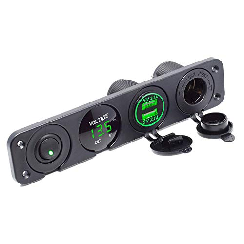 Dual USB Socket Charger 2.1A Switch Panel for Car Boat Marine RV Truck Camper Vehicles GPS Mobiles (Green)