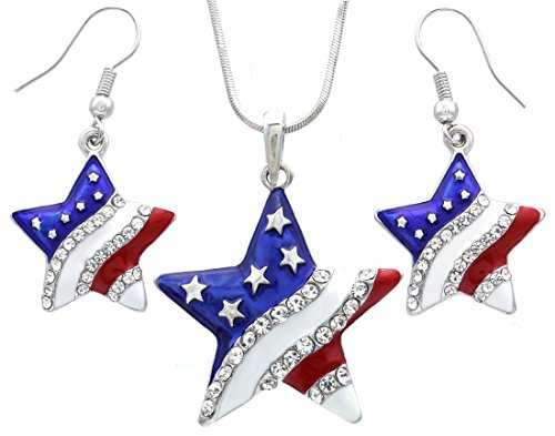 USA American Flag Stars Patriotic 4th of July Independence Day Pendant Necklace & Dangle Earrings Set (Set Patriotic)