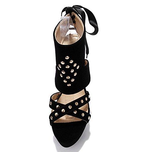 COOLCEPT Mujer Moda Envuelto al Tobillo Sandalias Cordones Tacon de Aguja Peep Toe Plataforma Slingback Zapatos Negro