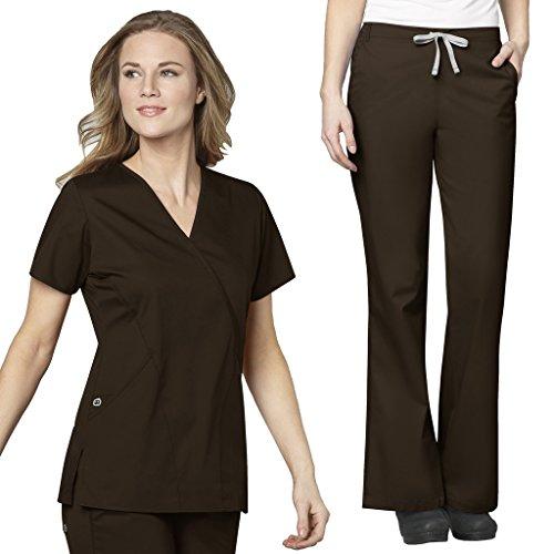 V-neck Top Scrub Wrap Mock - WonderWink Women's Work Scrubs Mock Wrap V-Neck Top & Flare Leg Drawstring Pant Set Chocolate