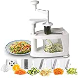 Mr. Spades - Vegetable Slicer 4-Blade Vegetable Spiralizer, 8 into 1 Spiral Slicer, Veggie Pasta Spaghetti Maker, Perfect for Salad, Zucchini Noodles, Pasta and Cut Vegetables, Make Low Carb/Paleo/Glu