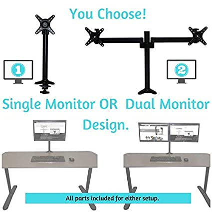 Varidesk Compatible Monitor Mount with Single and Dual Monitor Arm  Components, Attaches Using Grommet or Clamp Fixture, VESA Bracket, Black,  Victor