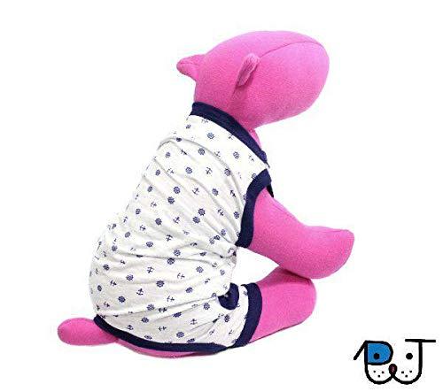 Pijama para Cães e Gatos Macacão Regata com Saquinho Marinheiro G