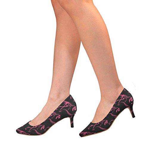 Scarpe Da Donna Low Cost Con Tallone Gattino Scarpe A Punta Svasate Rosa Dinosauro Scheletro Multi 1