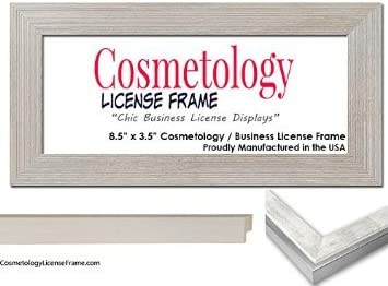 8.5 x 3.5 inches Stainless Steel Finish Wood Business//Cosmetology License Frame