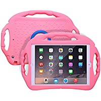 JUN-Q Soft Silicone iPad Air Case for Kids, Shockproof Back Cover with Kickstand 3 Handles for iPad 5 iPad Air 1, Pink
