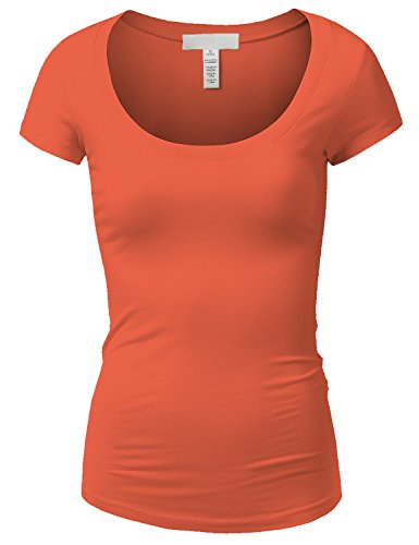 (Active Basic Womens Plain Basic Deep Scoop Neck T-Shirt with Cap Sleeves)