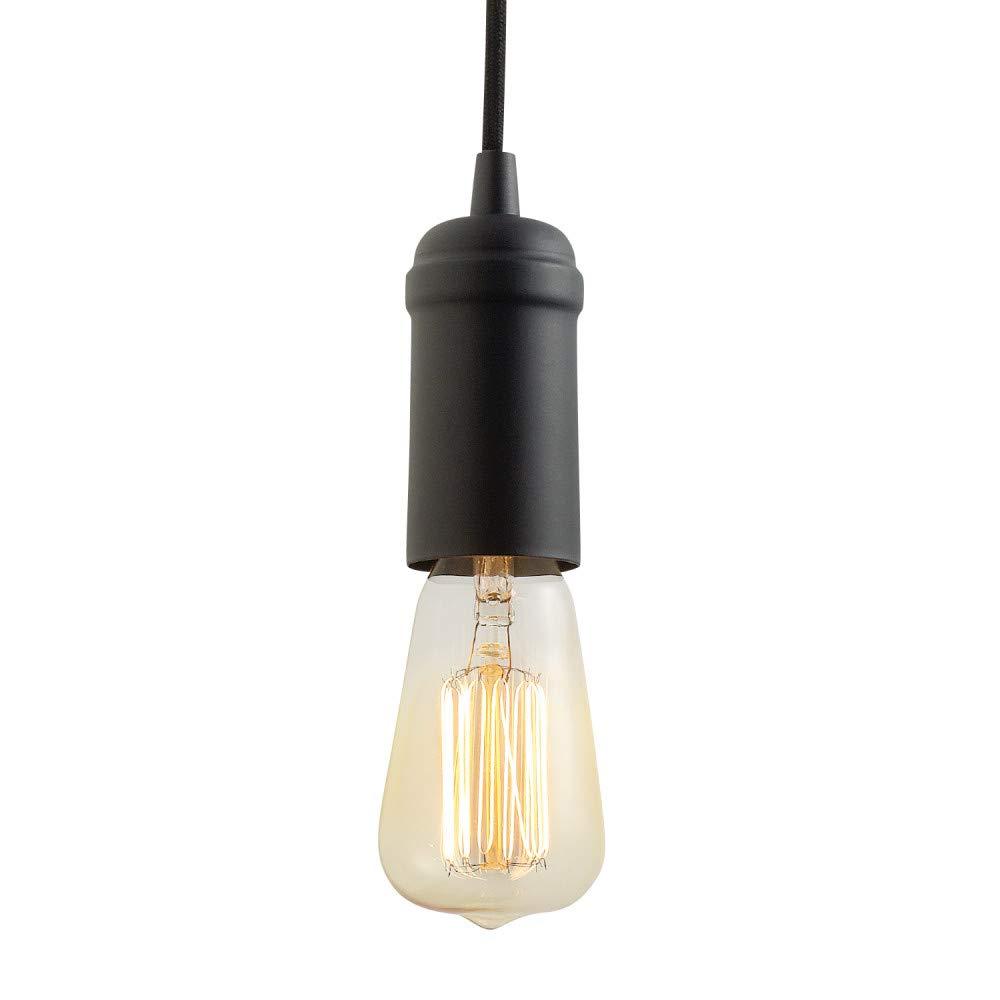 Globe Electric 65114 Edison 1-Light Plug-In Pendant, Matte Black, Black Woven Fabric Cord, In-Line On Off Switch