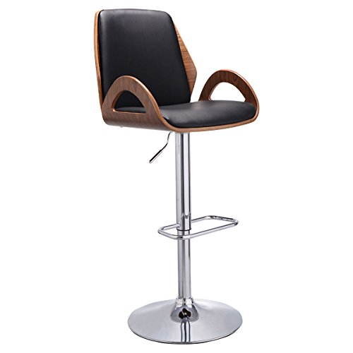 Costway Swivel Bentwood Bar Stool PU Leather Modern Barstools Bistro Pub Chairs