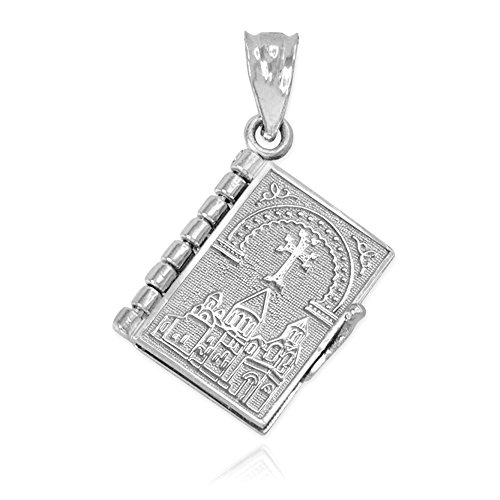 Polished Sterling Silver 3D Armenian Holy Bible Book w/Lord's Prayer Charm Pendant (Prayer Bible Charm)
