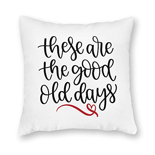 (DKISEE Decorative These are The Good Old Days Square Throw Pillow Cover Canvas Pillow Case Sofa Couch Chair Cushion Cover for Home Decor )