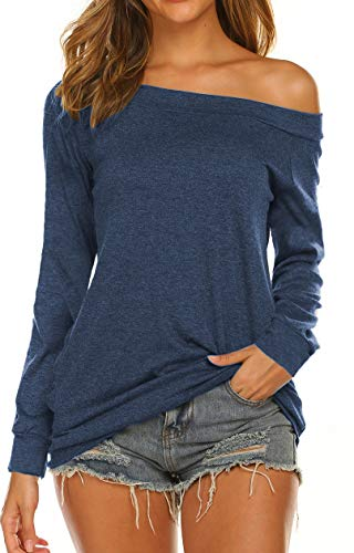 Off the Shoulder Tops, Slash Neck Shirts for Women Raglan Long Sleeve (L, Dark Blue) ()