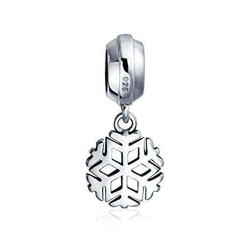 Snowflake Christmas Holiday Dangle Charm Bead For Women For Teen 925 Sterling Silver Fits European Bracelet