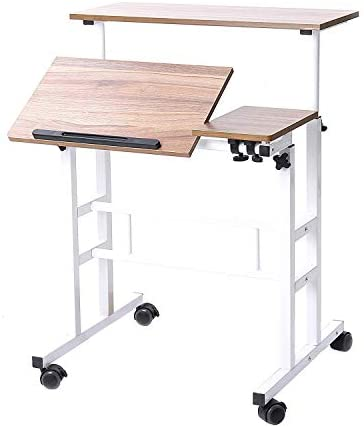 Soges Adjustable Mobile Stand Up Desk Standing Desk Computer Desk Workstation Sit-Stand Desktop Standing Desk