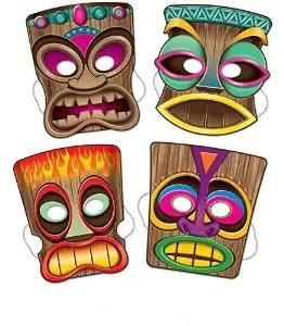 [Tiki Masks, 10-inch (4/pkg) Pkg/3] (Tiki Costumes)