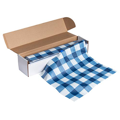 Blue Plastic Tablecloth Roll - 98 Feet x 54 Inches Disposable Table Cover On a Roll with Self-Cutter Box Dispenser, Fits 4.5 Feet Wide Tables, Picnic, Indoor Outdoor Party Supplies, -