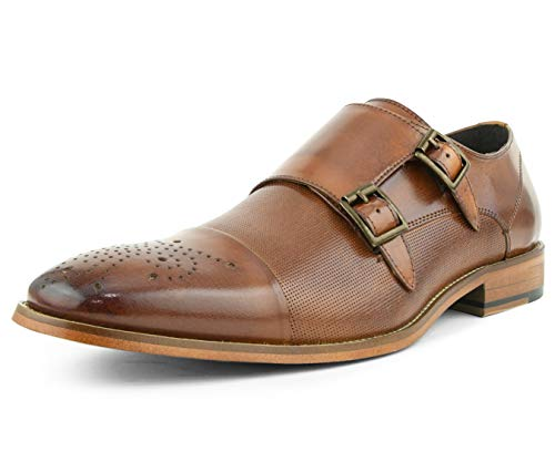 Asher Green Mens Dress Shoes, Genuine Calf Leather Cap Toe, Comfortable Double Monk Strap Tan ()