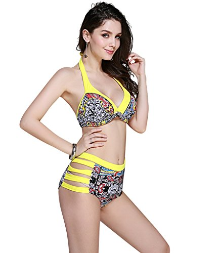 Le Besi Mujer Cintura Alta Bandas de filas elegante inspirado Halter Bañador amarillo