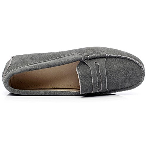 Classic Grey rismart Loafers Women's Shoes Suede Leather Driving Soft Slippers Moccasin rrvqwZ5c
