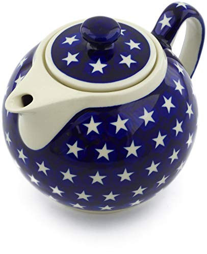 Polish Pottery 38 oz Tea or Coffee Pot (America The Beautiful Theme) + Certificate of Authenticity