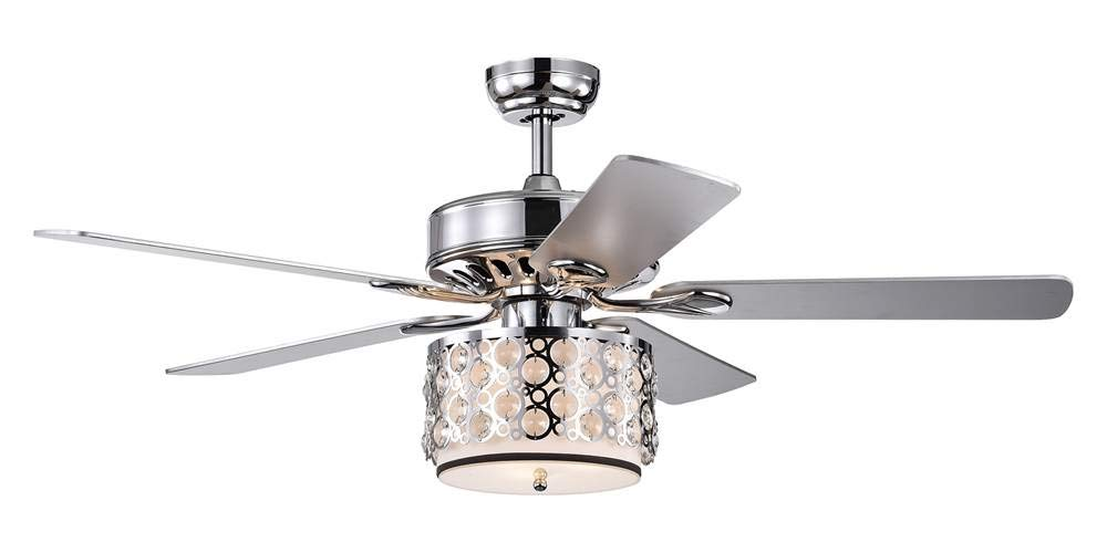 Home Accessories CFL-8413REMO/CH Shepherd 52-Inch 5-Blade Lighted Chrome and Glass Shade (Includes Remote and Lighti Kit) Ceiling Fan, One Size,