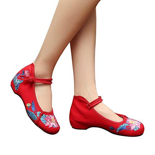 Hecater Womens Chinese Lotus Broderade Platta Skor För Cheongsam Qipao Klänning Röd