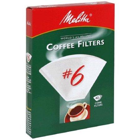 Melitta Cone Coffee Filters White No. 6 40 Count