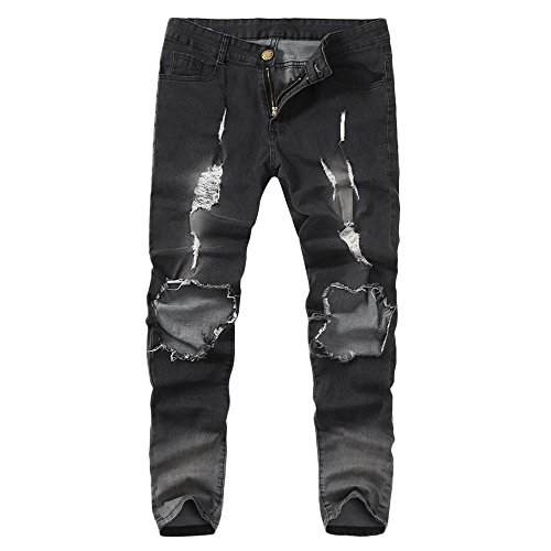 PENGYGY Mens Skinny Stretch Denim Pants Distressed Ripped Frayed Slim Fit Jeans Trousers Hole Pants Jeans Trousers by Pengy--Blouse (Image #3)