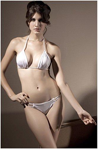 Karabiner-Bikini Badeanzug schwarz-weiß-rote Farbe,Weiß