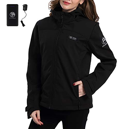Ptahdus Women's Heated Jacket Soft Shell with Hand Warmer, with 7.4V Battery Pack(M) (Warmer Hand Women)