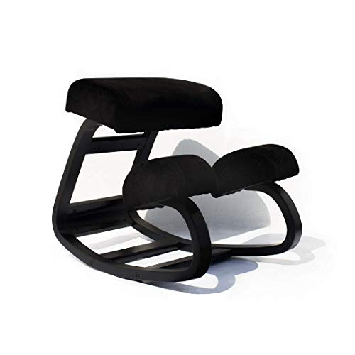 Sleekform Ergonomic Kneeling Chair   Balans Posture Correcting Wooden Stool for Office & Home   Back Support, Neck Pain & Spine Tension Relief   Rocking Kneel Seat with Orthopedic Soft Knee Cushions