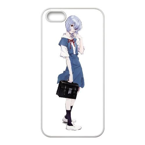 Ayanami Rei coque iPhone 5 5S Housse Blanc téléphone portable couverture de cas coque EBDOBCKCO11538