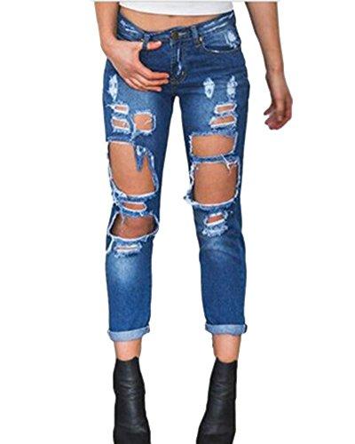 Zhuikun Pantaloni Blu Grande Donna Jeans Scuro Buco Denim Boyfriend Matita Strappato Zq1xwZPCr