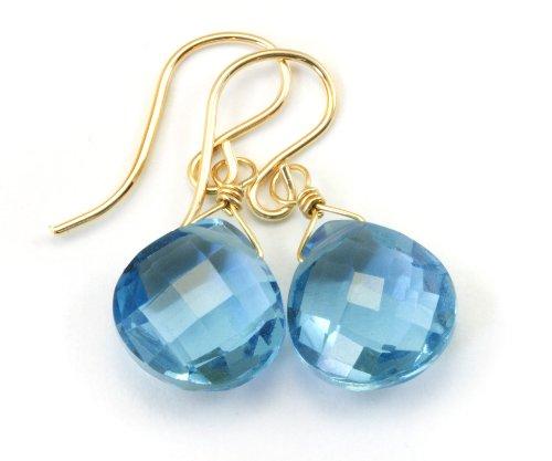 14k Gold Filled London Blue Earrings Simulated Topaz Faceted Heart Teardrops Briolette Cut (Simulated Earrings Heart)
