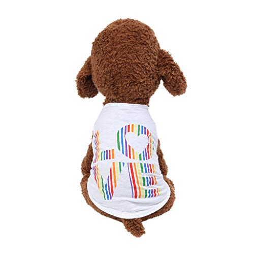 OUBAO Pet Clothes, Dog Vest Tanks Tops Tees Blouses Shirts for Puppy Dress Skirt Romper Bodysuit for Pet Cats Dogs Fashion Love Vest Dog Cat Thin Clothing