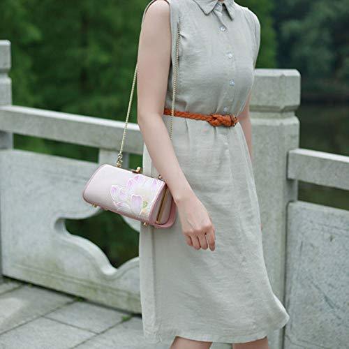 Brodé Main à Bandoulière Femme Style De Sac Sac Chinois GAOQQ Sac Cuir pour Rose à en zpn0qP