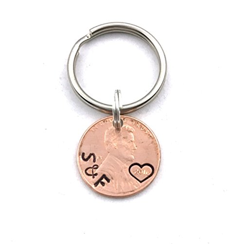 Custom Keychain - Christmas Gift - Boyfriend Gift - Gift for Husband - Penny Keychain - 1st Anniversary - Personalized - Copper 7 Year