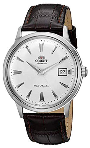 Orient Men's 2nd Gen. Bambino Ver. 1 Stainless Steel Japanese-Automatic Watch with Leather Strap, Brown, 21 (Model: FAC00005W0)