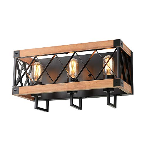 Eumyviv Rustic Wood Wall Lamp with Mesh Cage Industrial Wall Sconce, Retro Bathroom Lamp Log Cabin Home Vintage Edison Sconce Light Fixture 3-Lights, Brown ()
