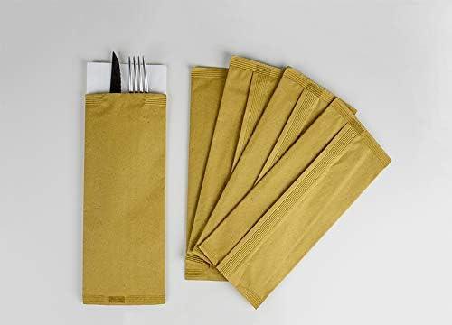 Palucart 125 - sobre portacubiertos de Papel Paja con servilleta para Cubiertos, Restaurante, tracción, rosticeria Cubierta: Amazon.es: Hogar