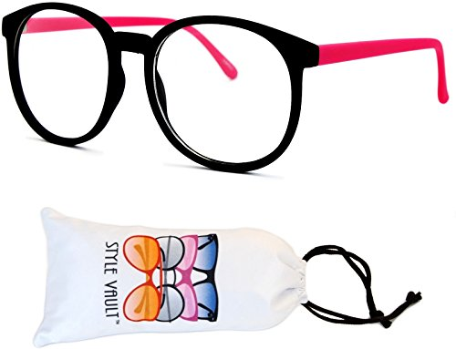 E25-vp Clear Wayfarer Oversized Eyeglasses (L2567E Rubber Black/Hot Pink-Clear, - Frames Eyeglass Pink Hot