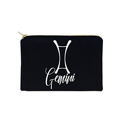 Gemini Zodiac Sign 12 oz Cosmetic Makeup Cotton Canvas Bag - (Black Canvas)