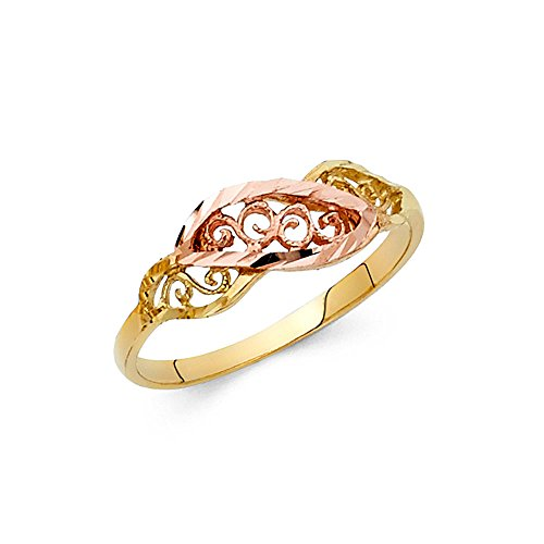 Fancy Leaf Ring 14k Yellow & Rose Gold Curve Band Diamond Cut Polished Filigree Two Tone 7MM, Size 5.5