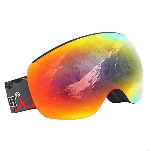 Unigear OTG Ski Goggles, Over Glasses Snowboard Snow Spherical Anti-fog Goggles for Men & Women with Interchangeable lens and 100% UV400 Protection, Portable Box - Glasses Smith Mens