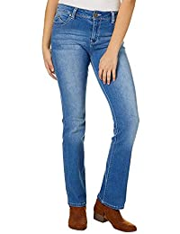 kjkjere Eletina ringet Wannabettabutt Mid Rise Bootcut Luxe Jeans Hand Sand Grinding Blue Lifting Ymy