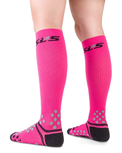 SLS3 Compression Socks For Nurses | Womens Graduated Athletic Fit | Relieves Shin Splints | For Running, Cycling, Obstacle Racing and Recovery (M/L, Diva Pink)