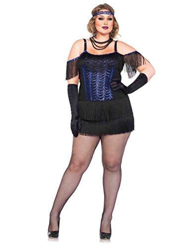 Leg Avenue Women's Plus-Size Gatsby Flapper Costume, Blue/Black, (Black Flapper Adult Plus Costumes)